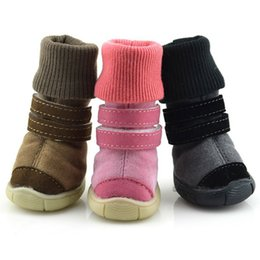 purple dog jacket NZ - Thick Fur Pet Shoes Small Dogs Shoes Winter Warm Snow Boots For Teddy Poodle Coffee Pink Purple