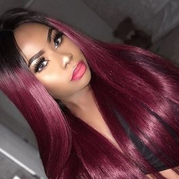 $enCountryForm.capitalKeyWord Australia - Ombre T1b 99J natural straight Hair Wig Brazilian Hair Glueless Full Lace Wig&Lace Front Human Hair Wig For Black Women can be dyed