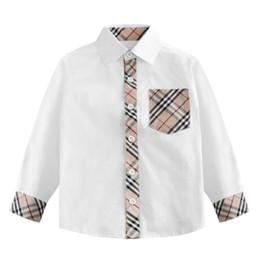 Boys White Plaid Shirt NZ - New Baby Boys Clothes Gentleman Style Kids Fashion Plaid Lapel Baby Boys Shirt White Comfortable High Quality Cotton Infant Casual Clothing