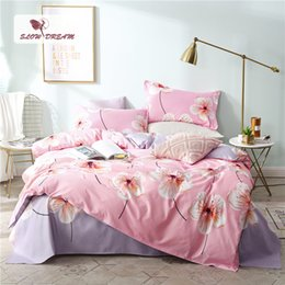 $enCountryForm.capitalKeyWord Australia - SlowDream Duvet Cover With Zipper Flat Sheet Pillowcase Complete Bedding Set Bed Linen Pink Bedspread Decor Double Home Textiles