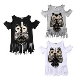 $enCountryForm.capitalKeyWord Australia - Casual Sequins Printed Fashion Casual T-shirts Baby Girls Short Sleeve Off Shoulder Tassel Tops 3 Style 1-6y