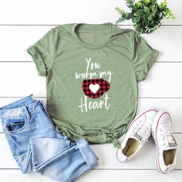women graphic shirts Canada - Valentine's Day T-shirt Plaid Love Heart Graphic Tees YOU Warm My Heart Letter Print Short Sleeve Tops Shirts for Women Girls Best Gift B23F