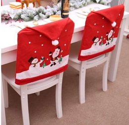 Christmas Tables Canada - 2019 Christmas Cartoon Chairs Cover Dinner Table Party Santa Claus Red Hat Chair Back Covers Xmas Home Christmas Decoration