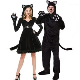 Wholesale cat woman costumes for sale - Group buy Girl Costume Women Dress Men Suits Black Cute Cat Halloween Christmas Cat