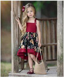 $enCountryForm.capitalKeyWord Australia - Baby Kids Girls Princess Dress Pageant Wedding Birthday Party Lace Flower printing 2019 summer girl Party Dressess Vintage Sundress DHL