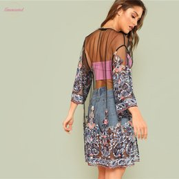 mesh long cardigan UK - Summer Fashion Floral Embroidery Mesh Kimono Blouse Top Cardigan Blouses Beach Tops Female Women 3 4 Long Sleeve Blusa Femininas