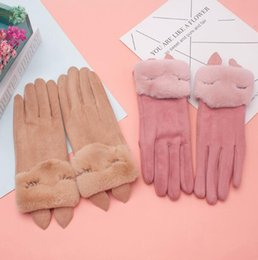 fingerless faux leather gloves Australia - Women's Autumn Winter Thicken Warm Faux Suede Leather Gloves Female Lovely Touch Screen Faux Fur Driving Glove