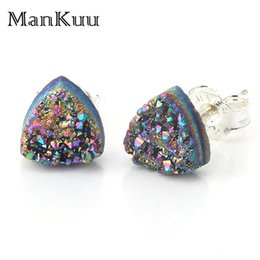natural stone stud earrings Canada - Mankuu Triangle 925 Sterling Silver Stud Earrings 8 Colors Fashion Druzy Earrings Fashion Tiny Natural Stone Earrings For Women