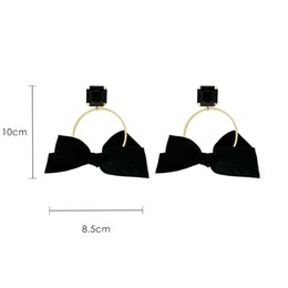 coral wedding bows UK - Big Bow Earrings Female Temperament Personality Simple Wild Earrings 2019 New Earrings Female Y19050901