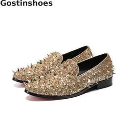 golden color shoes 2019 - Fashion Rivets Decoration Golden Color Men Loafers Genuine Leather Men Casual Shoes Slip-on Leisure Shoes cheap golden c