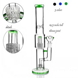 stereo pipe UK - Glass Water bongs Smoking Pipes Heady Dab Rigs Hookahs Heady Glass Water Bongs Double Stereo Matrix perc 18mm Bowl