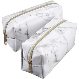 Piece Cosmetic Bag Wholesale Australia - 2 Pieces Cosmetic Toiletry Makeup Bag Pouch Gold Zipper Storage Bag Marble Pattern Portable Makeup Brushes