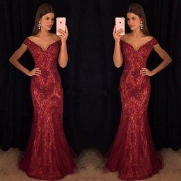 Red Formal Jacket Dress Sequins Australia - Modest Wine Red Evening Dresses Mermaid Off-Shoulder Burgundy Lace Major Beaded Prom Celebrity Gowns Dress for Party Formal Wear