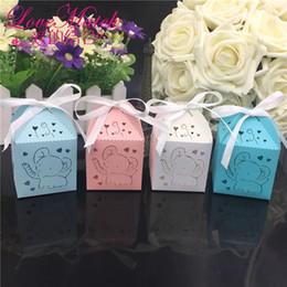 cartoon wedding gift boxes NZ - 50Pcs Baby Shower Gift Box Birthday Party Decor Party Supplies Decoration Wedding Candy Chocolate Box Guests Cartoon Elephant