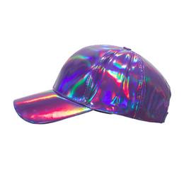 $enCountryForm.capitalKeyWord Australia - New arrival Shining PU Solid color Laser Baseball Cap Unisex Super cool Snapback Hats Casual Adjustable Summer sun Caps