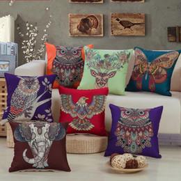 Deer pillow cases online shopping - Owl Elephant Printing Pillow Case Butterfly Sika Deer Pillowslip Living Room Pillowcover Linen Cloth Green Orange sf C1