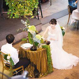 $enCountryForm.capitalKeyWord Australia - Table Cloth diameter 120 cm Circular tablecloth Hotel wedding square tablecloth champagne tablecloth Sequins 2019party layout wedding props