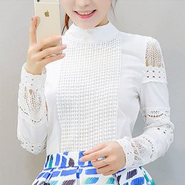 Lace crochet bLouses online shopping - New Fashion Women Office Crochet Lace Shirt Long sleeved White Blouses Shirts Plus Size Ladies Casual Tops
