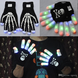 glowing gloves Australia - Led Flashing Gloves Light Up Led Finger Light Gloves LED Skeleton gloves 2 Design Party favor Glove glow props Colorful magic glove