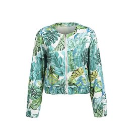 $enCountryForm.capitalKeyWord UK - Trendy Women clothes Floral print Zipper Long Sleeve Coat slim casual cotton Ladies Outwear one pieces