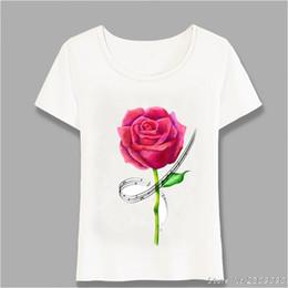 $enCountryForm.capitalKeyWord NZ - New Summer Casual Women Short Sleeve Music Is Love Design T-Shirt Pretty Red Rose Art T Shirt Fashion Top Cute Girl Tee Harajuku