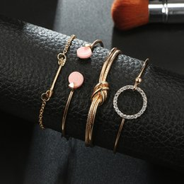 Charms Wire Wrapping Australia - Free DHL 4 Pcs Set Knotted Ring Circle Diamond Arrow Bangle Bracelets Adjustable Cuff Open Wire Bangle Stackable Wrap Bracelet Set M270R