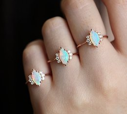 $enCountryForm.capitalKeyWord NZ - New cross-border hot accessory opal stone horse eye ring rose gold hand ring European and American fashionable ladies ring size 5-10