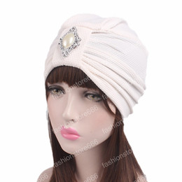 $enCountryForm.capitalKeyWord Australia - Fashion luxury knotted Turban with pearled metal brooch Indian cap chemo bandana Wrap cancer hat Cap Chemo Hair Loss cap women