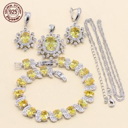 $enCountryForm.capitalKeyWord Australia - Women Wedding Jewelry Set 925 Stamped Silver Earrings Chain Pendant Extended Bracelet Yellow Cubic Zirconia Christmas Gift