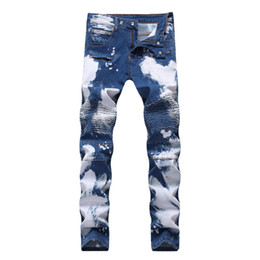 Chinese  Fashion New Men Cycling Stretch Jeans Zipper Hole Double Color Hip Hop Wear White Jeans Trousers manufacturers