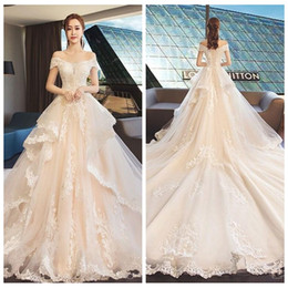 $enCountryForm.capitalKeyWord Australia - Gorgeous White 2019 Off Shoulder A Line Tiered Skirt Lace Applique Short Sleeves Sweep Train Lace Up Wedding Dresses Bridal Gowns Custom