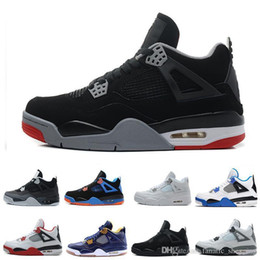 Cat Strap NZ - real quality bred Black Cat 4 sports basketball shoes Royalty White Cement Black Cat Pure Money men sports Sneakers us 8-13