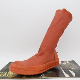 Boots Small Australia - 17 New list orange personality small fragrant bottom hooks Tall high top Boots stretch male and female couple sheepskin boots