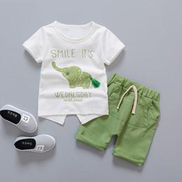 BaBy Boys jogging online shopping - Baby Boy Clothing Set Summer Infant Clothes Elephant Short Sleeve T shirts Tops Pants Kids Boys Girls Sunsuit Jogging