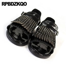 studs sandals NZ - Japanese Stud Rivet Genuine Leather Size 45 Luxury Black Runway Sandals Designer Shoes Men High Quality Tassel Plus Summer Large
