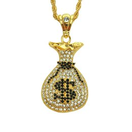 $enCountryForm.capitalKeyWord UK - Gold silver color iced out Dollars Purse Pendant necklaces Men hip hop bling bling 76cm long cuban link chain necklace jewelry