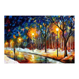 hand painted romantic canvases UK - 40x30 Hand-painted oil painting colour romantic couples a picture to the sitting room sofa background walking in the street Bright style