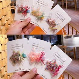 exquisite accessories NZ - New Fashion Colorful Quicksand Transparent Hair Clip Star Love Crown Child Hairpin Child Girl Exquisite Duckbill Clip Hair Accessories