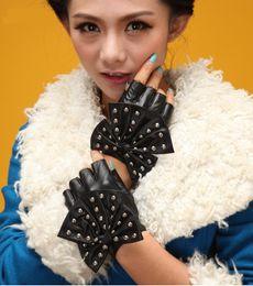 Leather Rivet Gloves Australia - Fashion Female Half Finger Punk Rivet Dance Gloves Women Sport Fitness PU Leather Bow Mittens