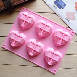 pudding silicone mold UK - 20 new silicone handmade mould cake mould cake 6-link love pudding jelly mold handmade soap mold
