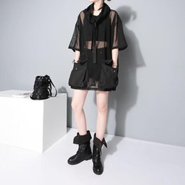 $enCountryForm.capitalKeyWord Australia - 2018 Japanese Style Summer Women See Through Mesh Tee Top 1 2 Sleeve Oversized Black T Shirt femme Hipster Harajuku T-shirt F370