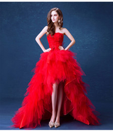 Discount high low feather dress - Red High Low Wedding Dresses with Feather and Flowers 2019 Sweep Train Wedding Gowns Vestido De Novia