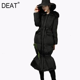 Turn coaT online shopping - DEAT New Autumn And Winter Fashion Women Clothes Parker Cotton Turn down Collar Full Sleeves High Waist Long Coat F a162