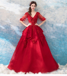 v corset wedding dress UK - Red Lace A-line Gothic Wedding Dresses 2019 With Half Sleeves V Neck Floor Length Corset Back Colorful Bridal Gowns Non White Bride's Dress