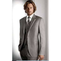 tie for grey suit NZ - 2021 Design light Grey Groom Tuxedos Blazers Slim Fit Man Wedding Suits For Men Business Suit men Blazers (Jacket+Pants+Vest+tie