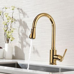 Single Hole Pull Down Kitchen Faucet Australia - Modern Single Hole Single Handle Kitchen Sink Faucet Pull Out Sprayer Swivel Spout Solid Brass in Gold