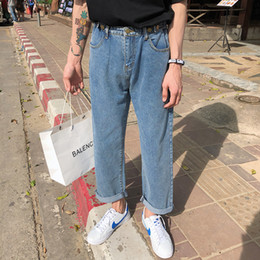 2019 Hombres Nuevo Elástico de Algodón Elástico Azul Color Baggy Homme Jeans Pantalones Casuales de Mezclilla Suelta Pantalones de Marca de Moda Tamaño S-XL en venta