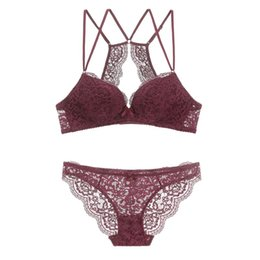 38b bra panty set UK - New Women's underwear Set Lace Sexy Push-up Bra And Panty Sets Comfortable Brassiere wire free hollow out Beauty back Lingerie