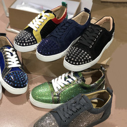 Luxury crystaLs wedding shoes online shopping - Luxury Designer Red Bottom shoes junior spikes men trainers real Leather Suede Spike Crystal Wedding Party shoes Low Top Flats Big size