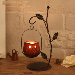 Owl Candles Australia - Retro Vintage Owl Candlestick Hanging Metal Iron Lantern LED Tealight Candle Holders Home Decoration